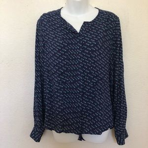 Anthropologie Maeve Navy Blue Bird Pattern Blouse